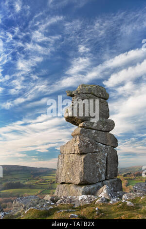 Bowerman's Nose granite rock stack in Dartmoor National Park, Devon - Stock Image