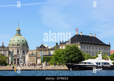 Amaliehaven on the waterfront with Amalienborg Palace and Marble Church from offshore in Copenhagen Zealand Denmark Scandinavia - Stock Image