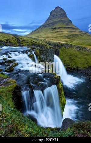 Blue Hour, Kirkjufellsfoss, Kirkjufell, Waterfall, Mountain, Iceland, Europe - Stock Image