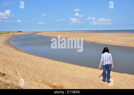 woman looking out to sea, Gibraltar Point, near Skegness, Lincolnshire, England, UK - Stock Image