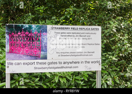 Strawberry Field replica gates sign on Beaconsfield Road, Woolton, Liverpool, inspiration for Beatles/John Lennon's song 'Strawberry Fields Forever'. - Stock Image
