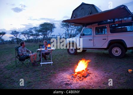 Tanzania, Serengeti. Rough camping in one of the designated 'special campsites' (Sero 1 extra). MR. - Stock Image