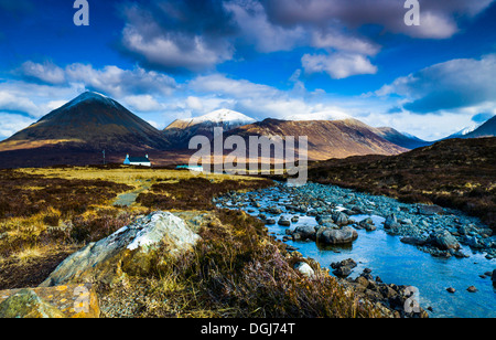 Red Cuillins behind Allt Dearg House. - Stock Image