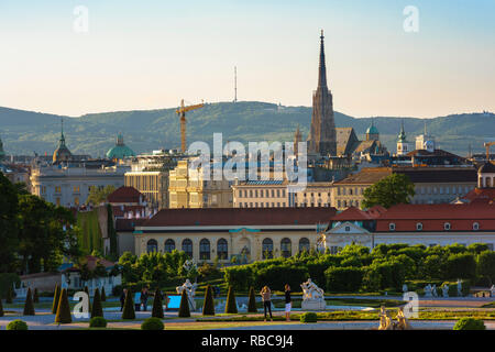 Vienna cityscape, view of the Vienna city centre skyline with the Schloss Belvedere palace in the foreground and Stephansdom cathedral spire beyond. - Stock Image