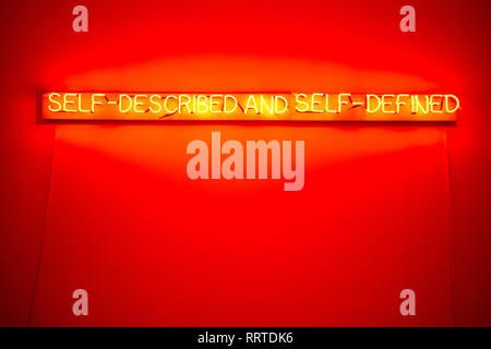 Self-described and Self-Defined neon artwork by Joseph Kosuth at Lisbon's Museum of Art, Architecture and Technology, Portugal - Stock Image