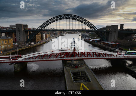 The Swing and Tyne Bridges Newcastle upon Tyne in the north east of England - Stock Image