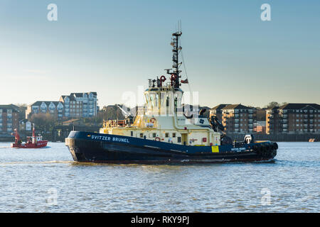 Early morning sunlight over the tug Svitzer Brunel working on the River Thames. - Stock Image