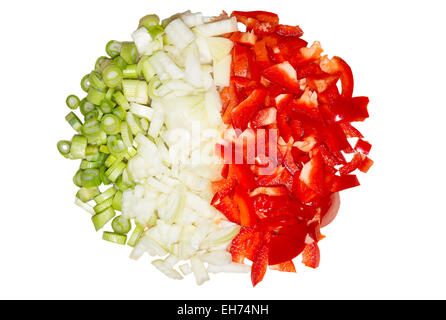 Picture of chopped paprika, onions, and spring onions - Stock Image