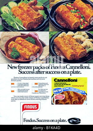 1970s magazine advertisement for Findus Frozen Foods Cannelloni 1978 FOR EDITORIAL USE ONLY - Stock Image