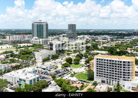 Aerial view of Downtown Miami viewed from an upper floor of a new condominium high-rise tower in Midtown Miami, - Stock Image