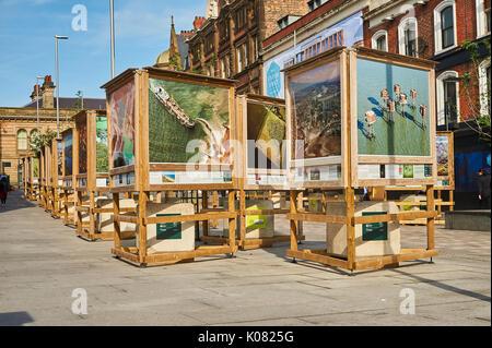 Street art on the newly pedestrianized Station Street in Nottingham - Stock Image