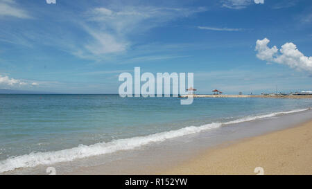 A beautiful sunny day on the lovely beach of Sanur   Bali Island Indonesia. - Stock Image