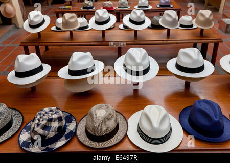 Panama Hats, Cueneca, Ecuador. Cueneca is known for the manufacture of Panama Hats - Stock Image