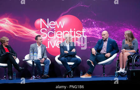 Clare Balding leads a discussion  entitled 'Technology in Sport: Is it always a good thing?' with sports stars Lawrence Dallaglio and Hannah Cockroft, Jamie Hindhaugh of BT Sport and sports engineer Steve Haake. On the main stage at New Scientist Live. - Stock Image