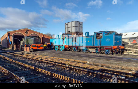 Former Caledonian Railway steam engine 419 and Coltness No. 1 being prepared for black bun specials at Bo'ness & Kinneil Railway Bo'ness Scotland UK - Stock Image