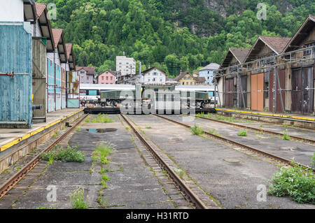 Electric locomotive SBB Ce 6/8 II 'Krokodil' on a transfer table at a railway depot of SBB, the Swiss Federal - Stock Image