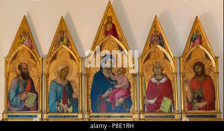 Virgin and Child with Saints Paul, Lucy, Catherine and John the Baptist, Simone Martini, circa 1320, Isabella Stewart Gardner Museum, Boston, Mass, Ma - Stock Image