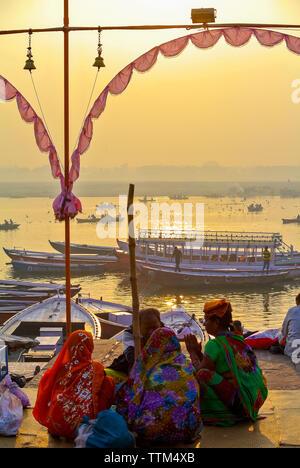 Hindu pilgrims on a Ganges river, Varanasi india - Stock Image