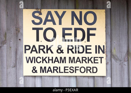 Say No To EDF campaign sign, Marlesford, Suffolk, England, UK - Stock Image