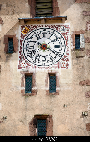 Close-up of Tower watch in Ribeauville, Haut Rhin, Alsace, France - Stock Image
