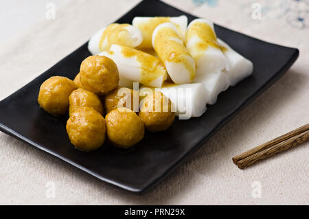 Food curry fish balls with Steamed Vermicelli Roll - Stock Image