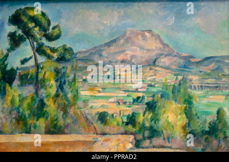 'Montagne Sainte-Victoire' painting by Paul Cézanne.Musée d'Orsay, Paris, France - Stock Image