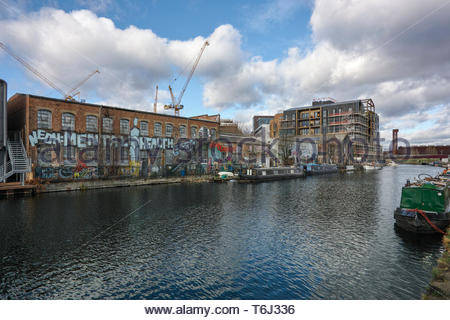 Vittoria Wharf, artist studios and an Asset of Community value across the River Lea at Hackney Wick: London. - Stock Image
