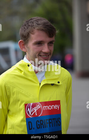 London,UK,24th April 2019,Dewi Griffiths attends The London Marathon British Athletes Photocall which took place outside the Tower Hotel with Tower Bridge in the background ahead of the Marathon on Sunday. Credit: Keith Larby/Alamy Live News - Stock Image