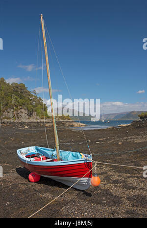 The picturesque Scottish West Coast sea front village of Plocton in Ross and Cromarty, very popular with visitors - Stock Image