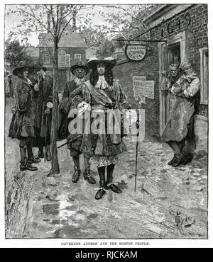 Edmund Andros was appointed governor of the Dominion of New England. He stands with a manservant in a Boston street, with various Bostonian men standing near and whispering to each other, one man leaning out a weaver's doorway to shake his fist at him. - Stock Image