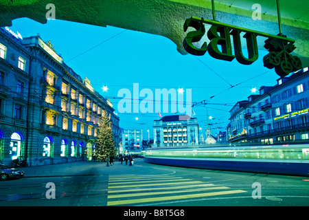 UBS bank entrance Logo UBS Credit Suisse bank Paradeplatz Zurich Switzerland - Stock Image