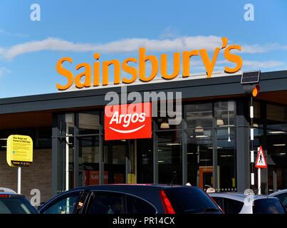 Sainsbury's  and Argos Supermarket. Shap Road, Kendal, Cumbria, England, United Kingdom, Europe. - Stock Image