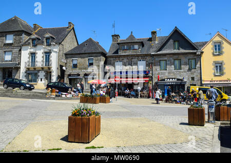 Town square in Rostrenan, Brittany, France. - Stock Image