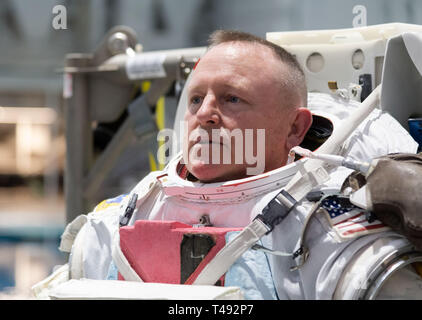 Boeing Commercial Crew Program astronaut Barry Butch Wilmore in his spacesuit before entering the pool at the Neutral Buoyancy Laboratory for ISS EVA training in preparation for future spacewalks while onboard the International Space Station at the Johnson Space Center February 1, 2019 in Houston, Texas. - Stock Image