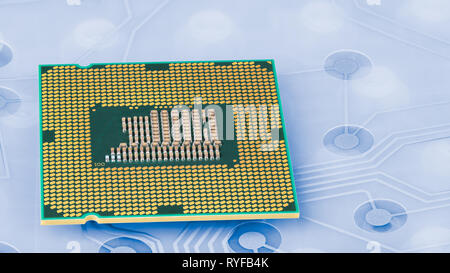 Computer main processor on plastic keyboard membrane. Circuit board. Modern PC central processing unit in green and golden. Hardware components, PCB. - Stock Image