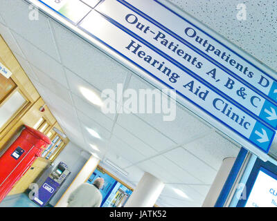 Hospital signage above corridor in a NHS uk Hospital clinic - Stock Image