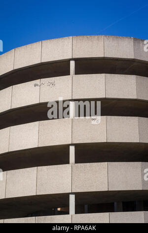 Abstract detail with graffiti from the concrete of the Multi-storey Car Park by Reading Station, Berkshire. - Stock Image