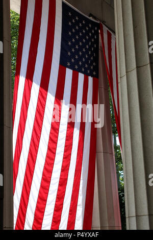 NEW YORK, NY - JULY 8: American flag displayed next to the entrance outside General Grant National Memorial in Morningside Height in Manhattan on JULY - Stock Image