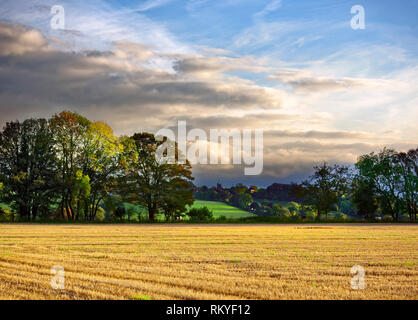 An evening view across farmland of the small village of North Nibley near Wotton-under-Edge in the Cotswolds. - Stock Image