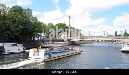 Pleasure boat craft on the Spree river, Berlin,Germany - Stock Image