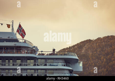 Ferry with Norwegian flag - Stock Image