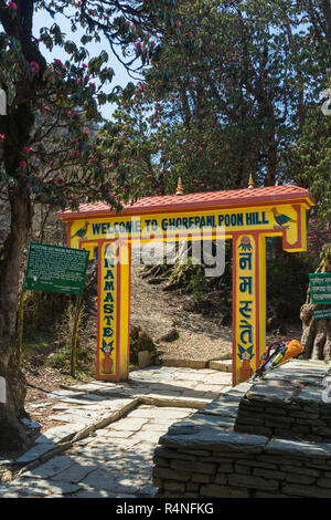 Gateway marking the entrance of the Ghorepani-Poon Hill trail. - Stock Image