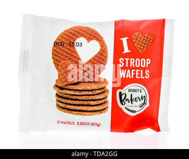 Winneconne, WI - 16 May 2019 : A package of Gerrits bakery of stroop wafels on an isolated background - Stock Image