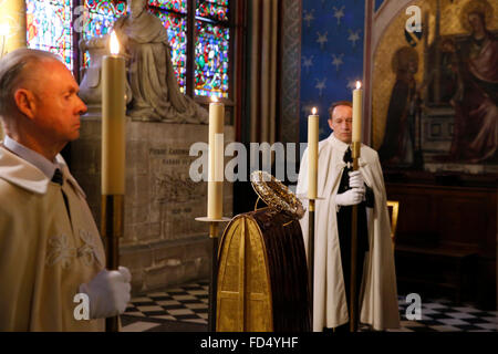 Notre-Dame de Paris cathedral. The holy crown of thorns worn by Jesus Christ during the Passion. Knights of the - Stock Image
