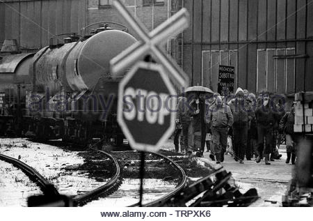 Czechoslovakia, Prague,1989 during the Velvet Revolution, the fall of communism in Eastern Europe. Workers walk out for a one hour token strike from factories in Usti nad Labem in northern Czechoslovakia. COPYRIGHT PHOTOGRAPH BY BRIAN HARRIS  © - Stock Image