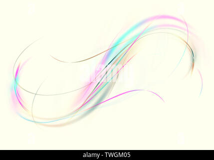 Abstract bright iridescent twisted wavy  delicate lines superimposed at each other on yellowish white background - Stock Image