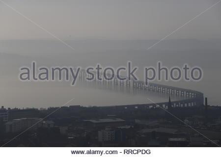 Tay Rail Bridge with haar Dundee Scotland  February 2019 - Stock Image