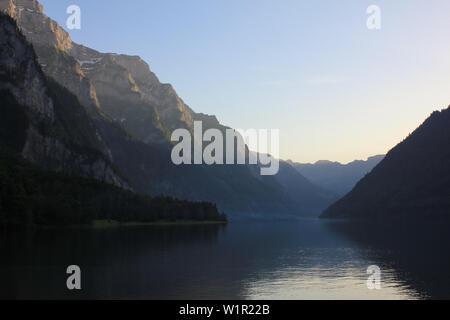 Sunset at Lake Kloental, Switzerland. - Stock Image