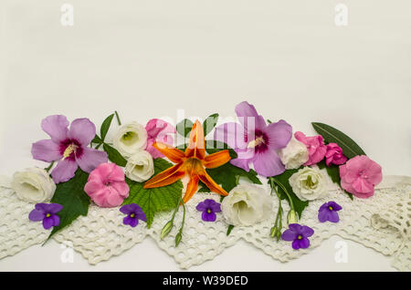 White background with an openwork border,located down below,is covered with heads of flowers of purple hibiscus, white Lisianthus, raspberry oleander - Stock Image