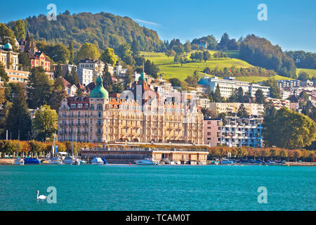 Lucerne lake waterfront and famous landmarks view, beautiful landscapes of Switzerland - Stock Image